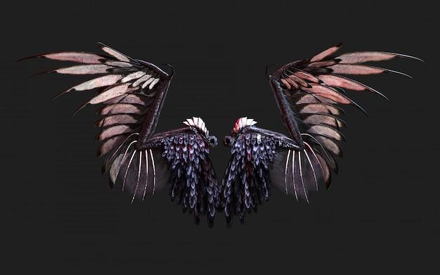Ilustración 3d demon wings, black wing plumage aislado en negro con trazado de recorte.
