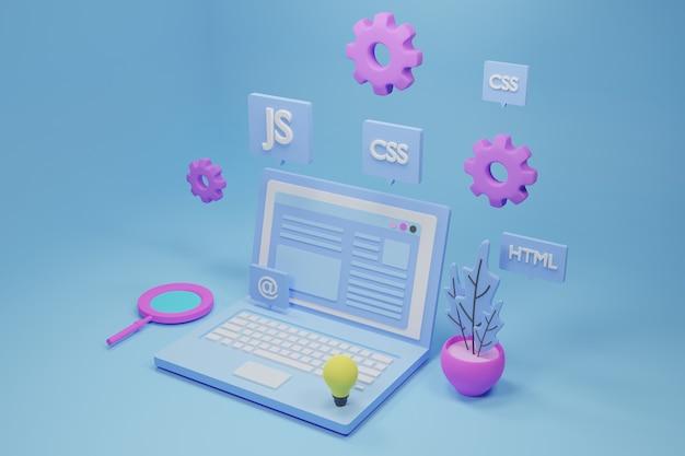 Ilustración 3d de desarrollo web y software