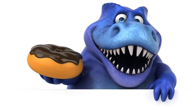 Ilustración 3d de dinosaurio divertido