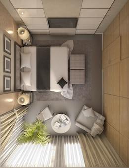Ilustración 3d del diseño de un baño en color marrón y beige.