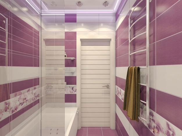 Ilustración 3d de diseño de un baño en violeta.