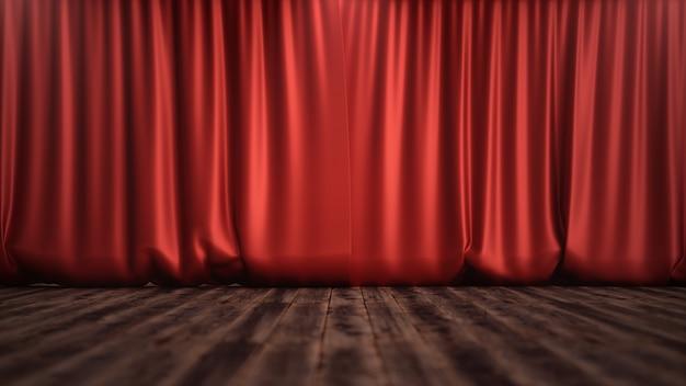 Ilustración 3d diseño de decoración de cortinas de terciopelo de seda roja de lujo, ideas. telón rojo para telón de teatro o ópera. maqueta para su proyecto de diseño