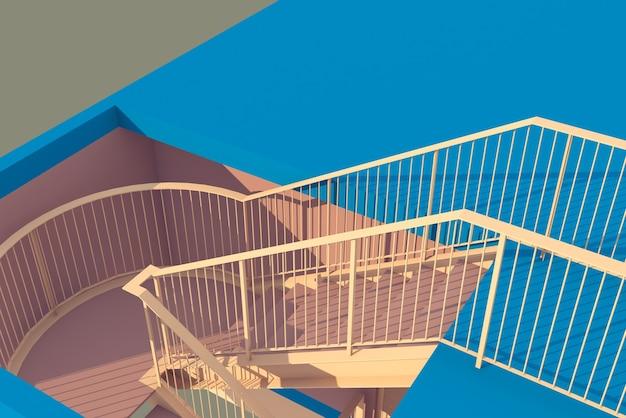 Ilustración 3d diseño de escalera y barandilla