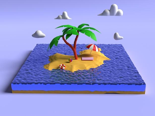 Ilustración 3d de diseño de fondo de playa de verano
