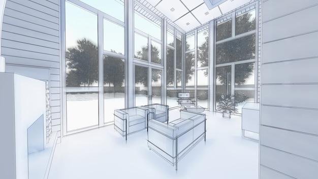 Ilustración 3d del diseño interior de la sala de estar y de la cocina.