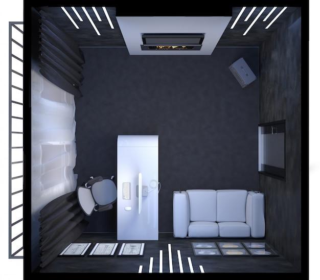 Ilustración 3d de diseño de interiores de una oficina en casa