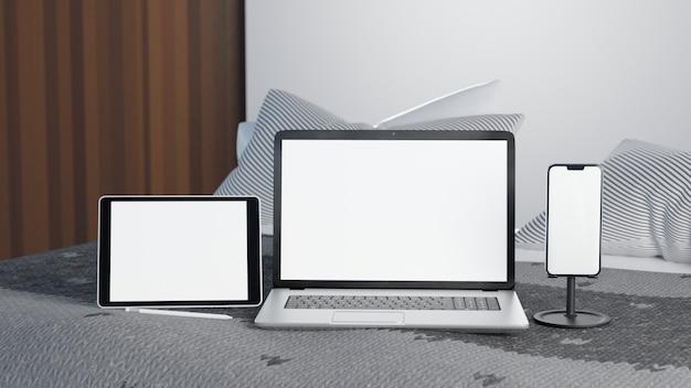 Ilustración 3d dispositivo de tableta, computadora portátil y teléfono inteligente con pantalla blanca en la cama en el tiempo de la mañana. concepto de trabajo desde casa