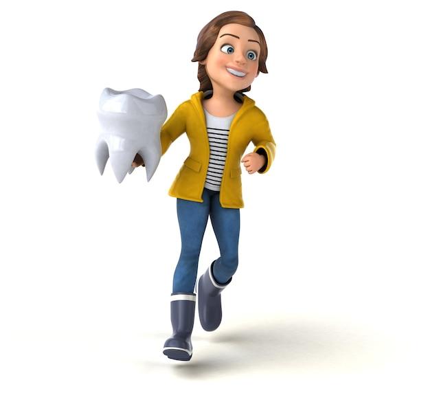 Ilustración 3d divertida de una adolescente de dibujos animados