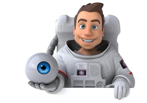 Ilustración 3d divertido astronauta