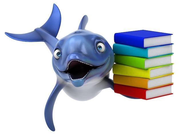 Ilustración 3d divertido delfín