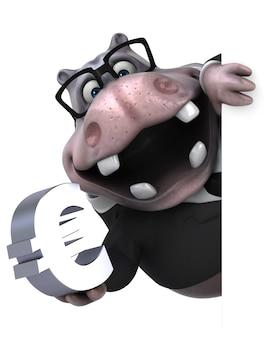 Ilustración 3d divertido hipopótamo