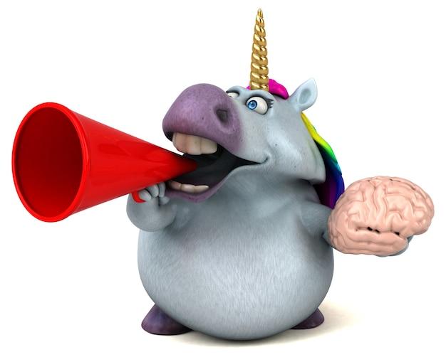 Ilustración 3d divertido unicornio