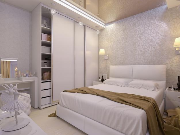Ilustración 3d de un dormitorio blanco en estilo moderno