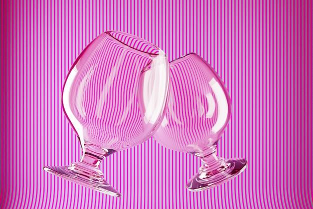 Ilustración 3d dos copas de vidrio para coñac, whisky sobre un fondo rosa.