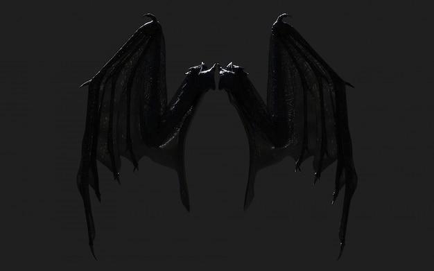 Ilustración 3d dragon wing, devil wings, demon wing plumage aislado en negro con trazado de recorte.