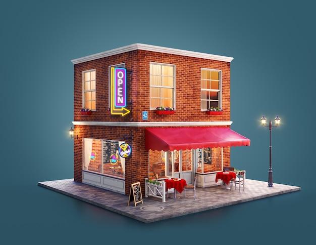 Ilustración 3d de un edificio de club nocturno, cafetería, pub o bar con toldo rojo, letreros de neón y mesas al aire libre