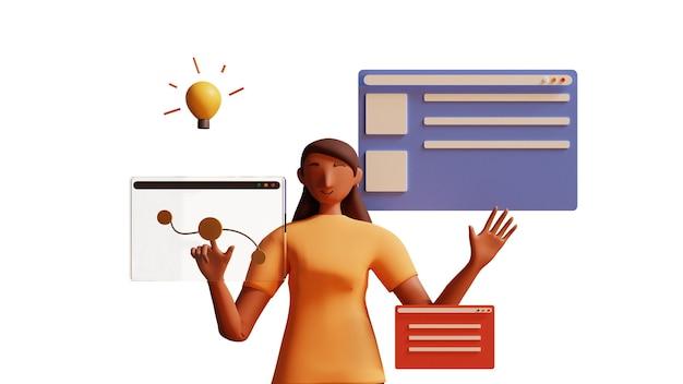 Ilustración 3d de la empresaria trabajando con la pantalla virtual y el navegador web sobre fondo blanco.