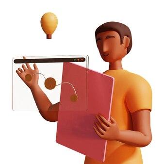 Ilustración 3d del empresario trabajando con pantalla virtual y bombilla sobre fondo blanco.