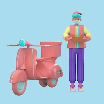 Ilustración 3d. entrega rápida y gratuita en scooter para el concepto de comercio electrónico móvil de servicio de alimentos. página web gráfica de pedidos de alimentos en línea, diseño de aplicaciones, entrega a domicilio y oficina almacén