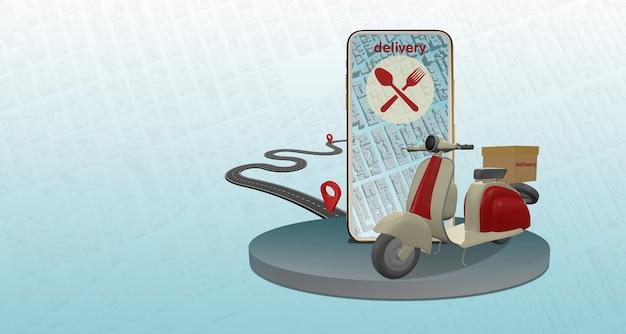 Ilustración 3d entrega rápida por scooter móvil. infografía del concepto de comercio electrónico: pedidos de alimentos en línea, servicio de entrega de alimentos de aplicaciones, diseño de aplicaciones, página web,