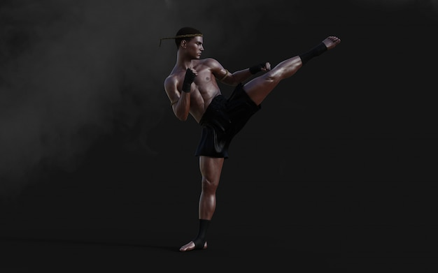 Ilustración 3d entrenamiento deportivo de artes marciales humanas con trazado de recorte, kick boxing, muscle man in dark.
