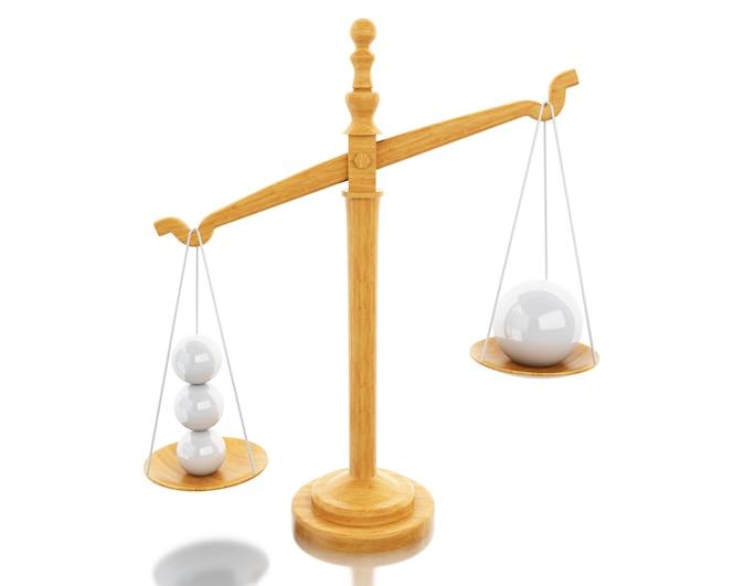 Ilustración 3d. escalas balance con esferas blancas. concepto de negocio