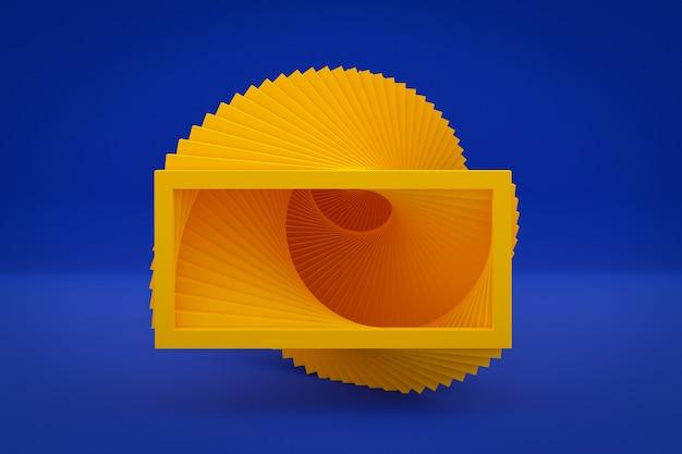 Ilustración 3d escalera ascendente amarilla sube en una habitación azul vacía