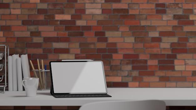 Ilustración 3d, escritorio de oficina en casa con computadora portátil, artículos de papelería, suministros de oficina, taza y espacio para copiar en la mesa blanca con fondo de pared de ladrillo, representación 3d