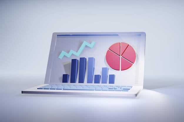 Ilustración 3d de estadísticas del portátil: pantalla con gráficos de resultados financieros o de marketing