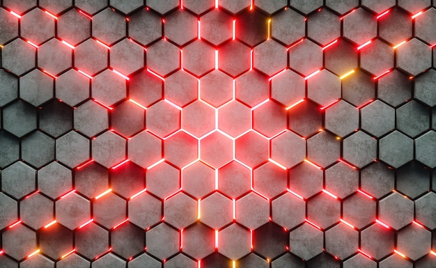 Ilustración 3d. estructura hexagonal abstracta
