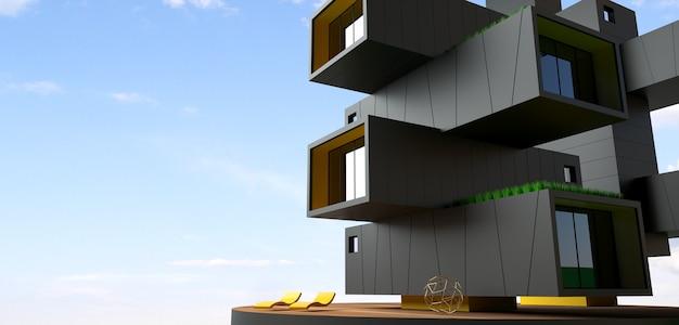 Ilustración 3d. fachada del edificio de rascacielos de contenedores. oficina u hotel moderno en una metrópolis