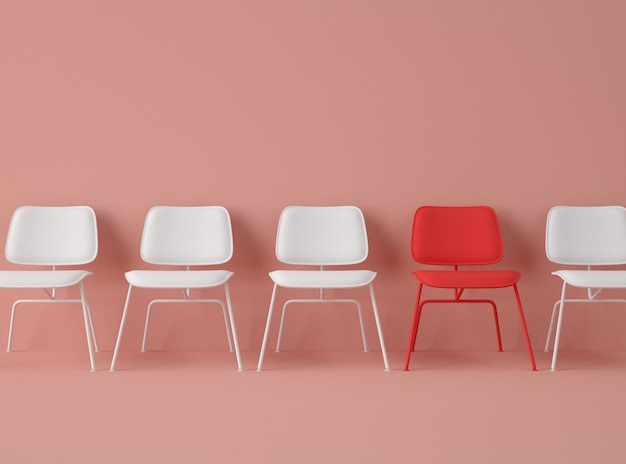 Ilustración 3d fila de sillas con una de diferente color.