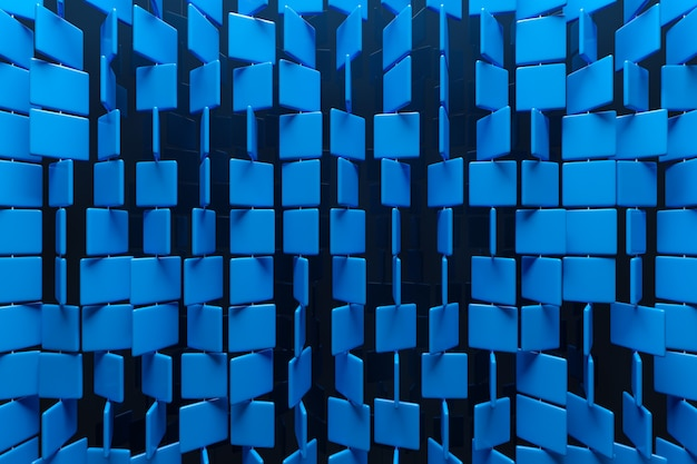 Ilustración 3d de filas de cuadrados azules. conjunto de cubos sobre fondo monocromo, patrón. fondo de geometría