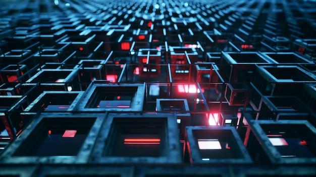 Ilustración 3d de filas de cubos de vidrio de colores flotando a través del progresivo, creando una textura de tecnología de fondo gráfico abstracto. color rojo azul
