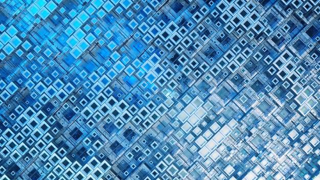 Ilustración 3d de filas de cubos de vidrio de colores flotando a través del progreso en 4k, creando una textura de tecnología de fondo gráfico abstracto.