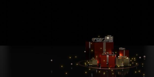 Ilustración 3d de fondo de decoración de vacaciones de caja y cinta de regalo
