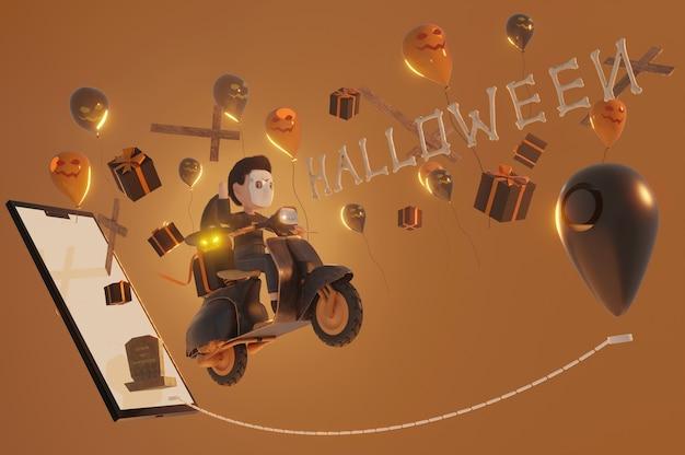 Ilustración 3d. fondo de halloween. dar cupón, pancarta, póster o fondo, arte en papel y estilo artesanal, concepto de compra en línea.