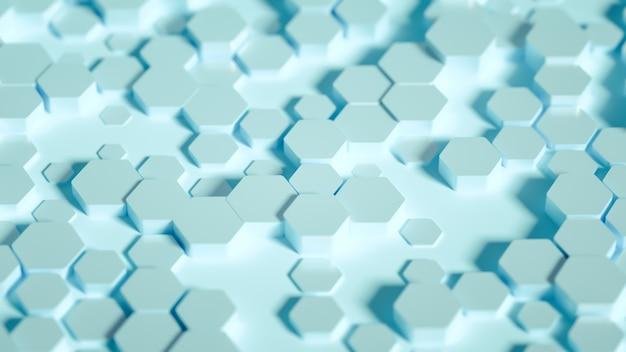 Ilustración 3d de fondo hexagonal de geometría
