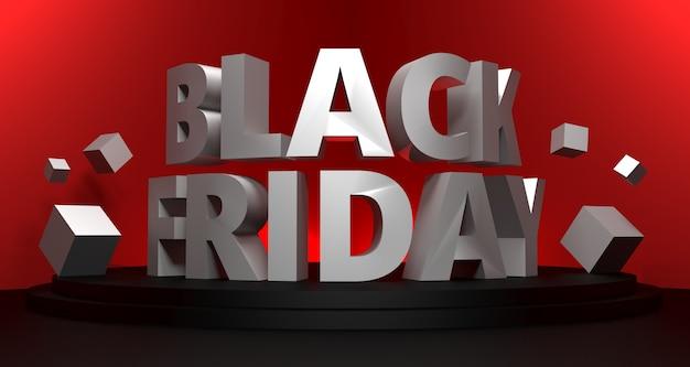 Ilustración 3d de fondo de venta de viernes negro.