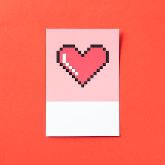 Ilustración 3d en forma de corazón pixelado
