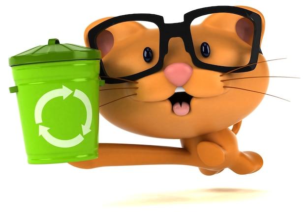 Ilustración 3d de gato divertido con cubo de basura