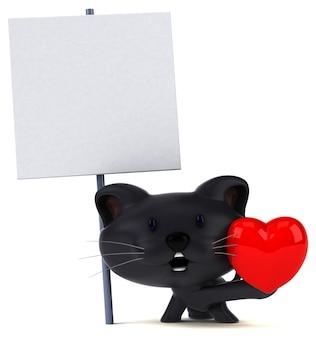 Ilustración 3d de gato divertido