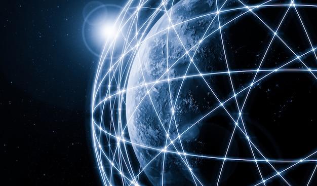 Ilustración 3d global moderna comunicación creativa y mapa de red de internet