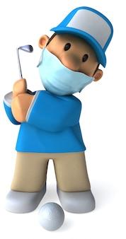 Ilustración 3d de un golfista de dibujos animados
