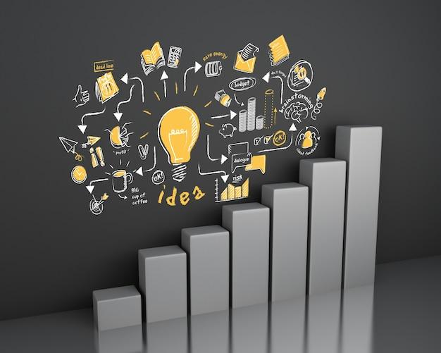 Ilustración 3d gráfico de barras con bosquejo de negocios en la pared. concepto de negocio y estrategia.