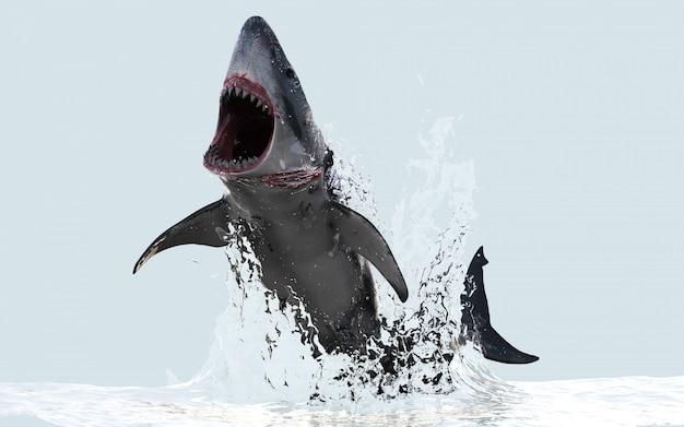 Ilustración 3d gran tiburón blanco salta del agua con trazado de recorte