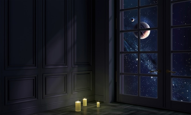 Ilustración 3d. una habitación con ventana de noche y espacio. galaxia y planetas