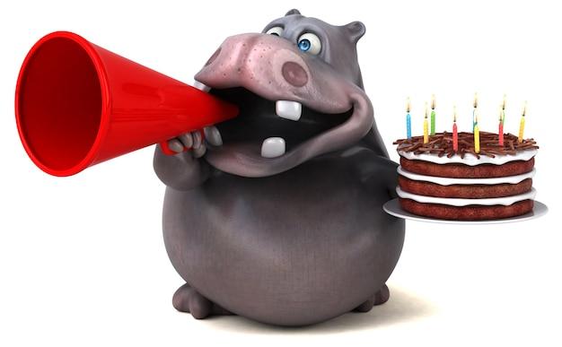 Ilustración 3d de hipopótamo divertido