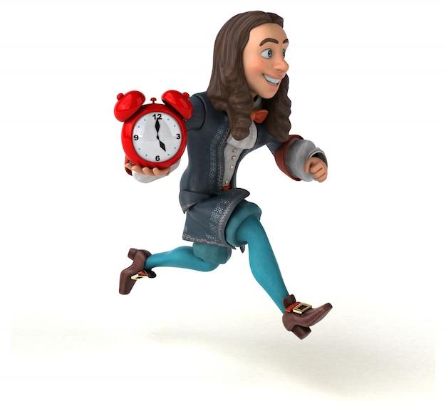 Ilustración 3d de un hombre de dibujos animados en traje histórico barroco con reloj rojo