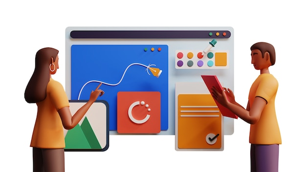 Ilustración 3d de hombre y mujer trabajando juntos en la industria web sobre fondo blanco.